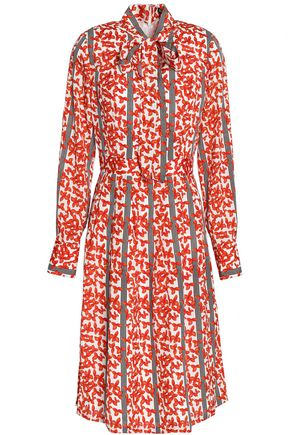 Raoul Pussy Bow Printed Crepe Dress Orange 4WXbw8