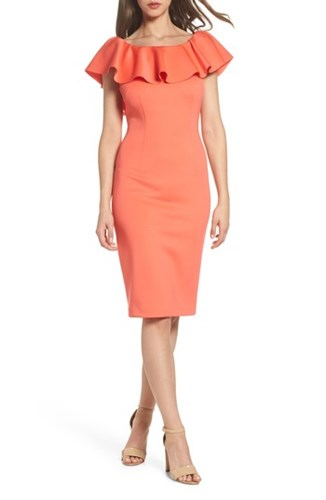 Eliza J Off The Shoulder Ruffle Dress Coral LB57Uc30