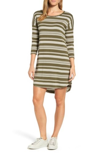 PRESS Women's Stripe T Shirt Dress Olive Ivory 013JP