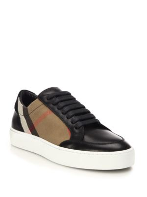 Burberry Salmond House Check And Leather Sneakers Navy Multi Black Multi EtGyF