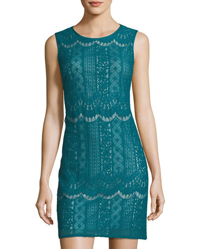 Adrianna Papell Sleeveless Lace Shift Dress Green F0X6KYX5