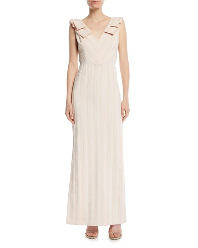 Mattox Detail W Pleat Blush Column Neck Gown Aidan V gwRdcO