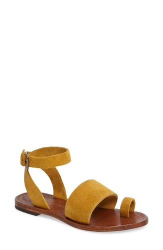 Free People Women's Torrence Ankle Wrap Sandal Yellow Suede zR2g7gCB