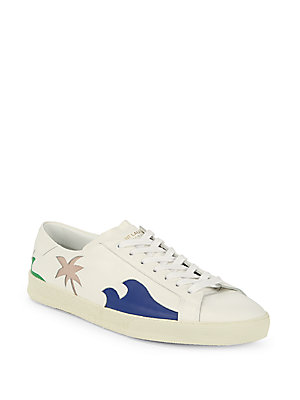Saint Laurent Graphic Leather Platform Sneakers White 3mHLrSps