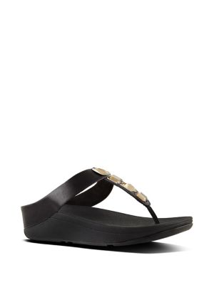 FitFlop Roka Tm Leather Thong Sandals Black YeT3l