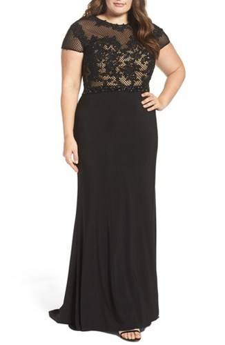 Mac Duggal Plus Size Women's Embellished Crochet And Jersey Gown bavqYm
