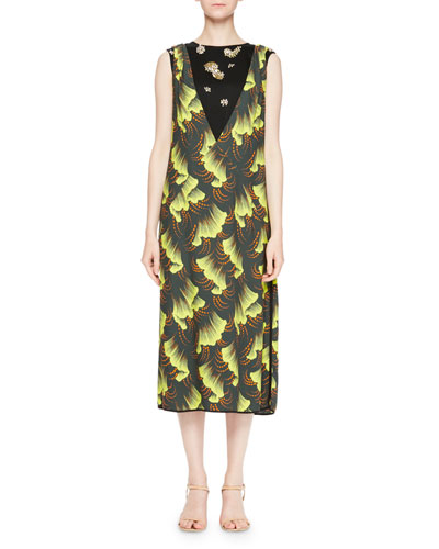 Dries Van Noten Delibo Leaf Print Midi Dress Yellow claJKAoX