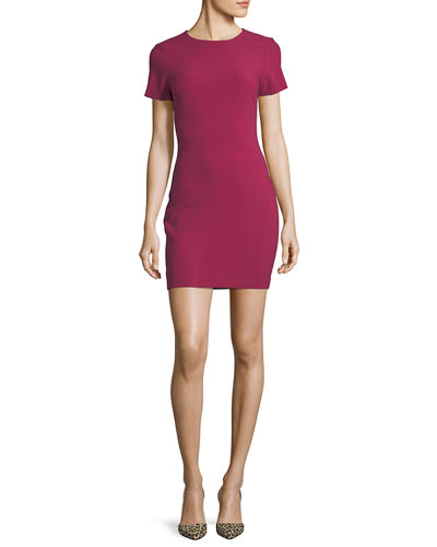 Likely Manhattan Fitted Short Sleeve Mini Dress Ruby poQVb
