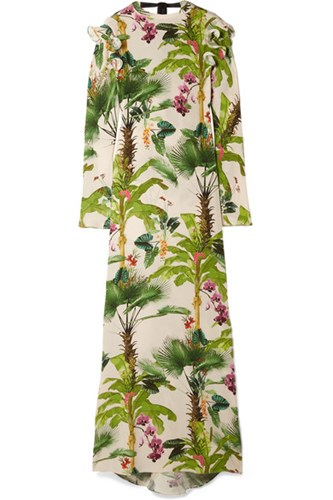 Johanna Ortiz Bow Embellished Printed Silk Crepe De Chine Gown Green Gbp MP9UQHA