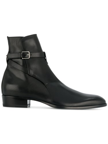 Saint Laurent Wyatt 30 Jodhpur Boots Calf Leather Leather Black SymjT1S