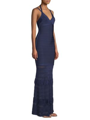 Herve Leger Bandage Knit Gown Classic Blue t2TAh9xHu