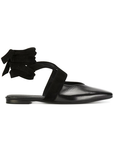 J.W.Anderson Open Flat Ballerina Shoes Women Leather 36 Black IbFoin4K