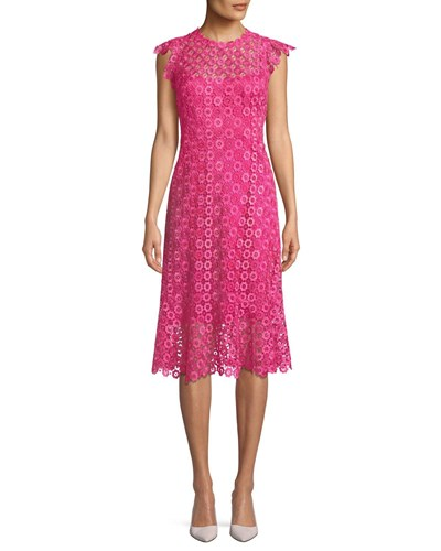 Elie Tahari Florance Geometric Lace Dress Pink Multi Umy3y