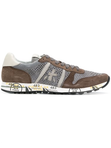 White Premiata Perforated Lace Up Sneakers Grey WYgoYf