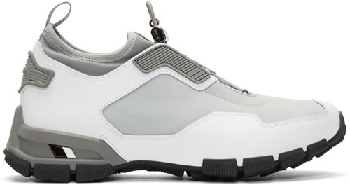 Prada Grey And White Traila Sneakers BLgu7