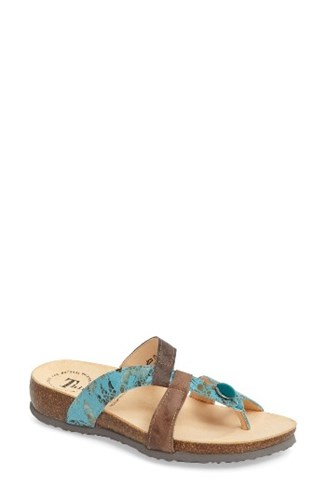 Think! Women's 'Julia Strappy' Sandal Turquoise Nubuck Leather 9Ymwd