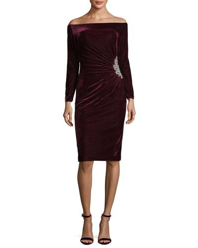 Jovani Off The Shoulder Velvet Cocktail Dress W Side Embellishment Wine Fw8pHlG