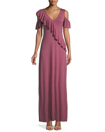 Rachel Pally Amelia Open Shoulder Ruffle Jersey Maxi Dress Dahlia 7zr8TT7