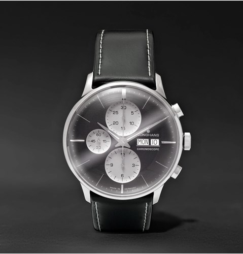 Meister Chronoscope Stainless Steel And Leather Watch