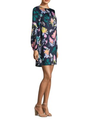 Tibi Gothic Floral Shift Dress Navy Multi seEVGIy