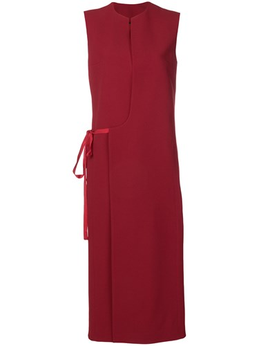 Haider Ackermann V Neck Midi Dress Red 6MRzzS0Jrn