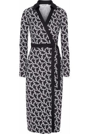 Diane von Furstenberg Printed Silk Jersey Wrap Dress Black J64uXWU