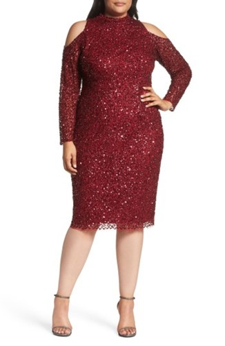 Shoulder Sheath Beaded Women's Cold Size Papell Adrianna Cranberry Dress Plus SpqUH