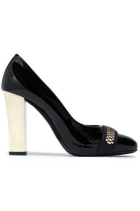 Lanvin Mila Embellished Two Tone Patent Leather Pumps Black PpOHgRW