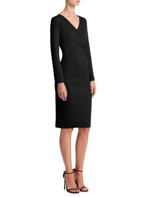 Emporio Armani V Neck Crossover Dress Black zkssa