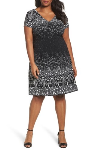 Black Line Majesty Papell Adrianna Print Size Multi Plus Lace Women's Dress A wBpv6Hq