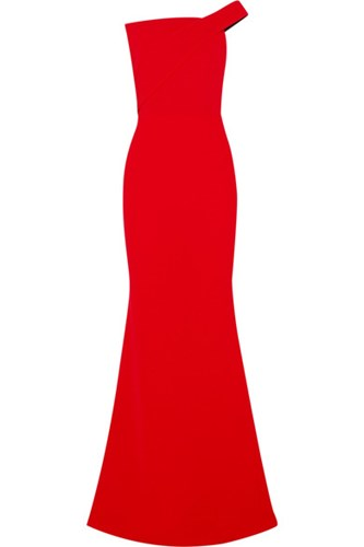 Roland Mouret One Shoulder Wool Crepe Gown Red 5ysM0yfDxU