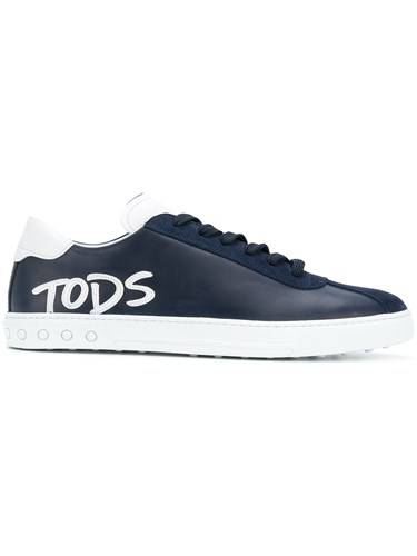Tod's Logo Applique Lace Up Sneakers Blue sx7Ejuox