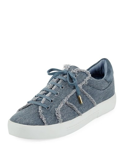 Joie Dakota Frayed Denim Low Top Sneaker Dark Denim AIjIrD