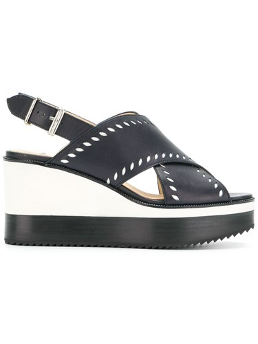 Sander Jil Wedged Navy Sandals Blue RYvpnqHvz
