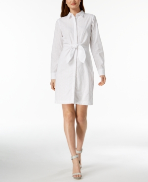 Calvin Klein Cotton Eyelet Tie Front Shirtdress White XP3WnkTaI