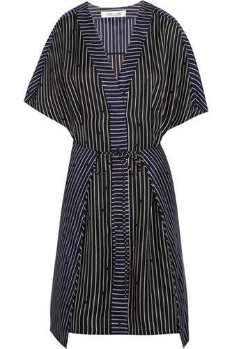 Mini Silk Dress Black von Striped Furstenberg Diane ASZHIx