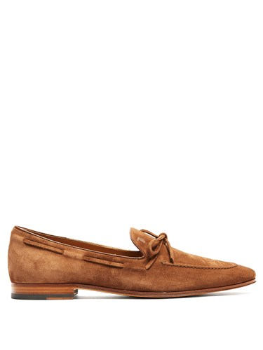 Tod's Round Toe Suede Loafers Brown FwNdroPn2