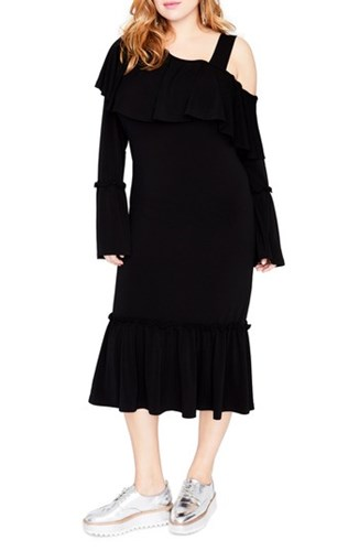 Roy Shoulder RACHEL Women's Size Plus Rachel Dress Cold Black Ruffle BY ppwxqEaS