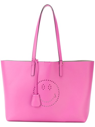 Anya Hindmarch Perforated Smiley Shopper Tote Calf Leather Pink Purple PMUE5Szp