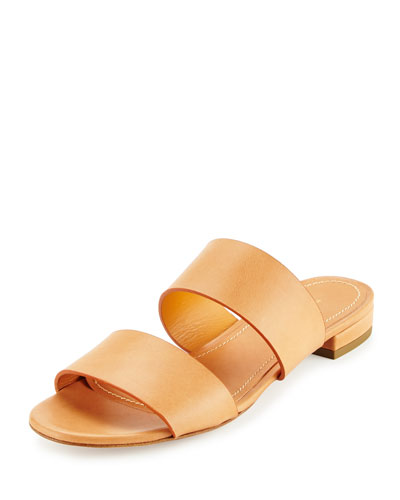 Mansur Gavriel Leather Two Band Slide Sandal Camello Cammello 3qfaE1V