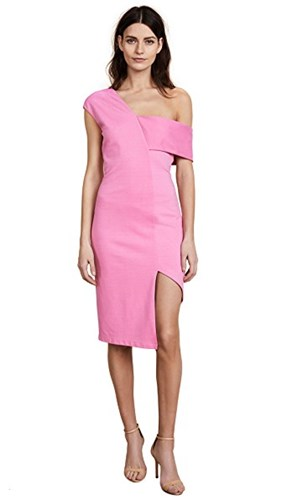 Michelle Mason Asymmetric Strap Dress Bubble Gum 9WxEddYcm0