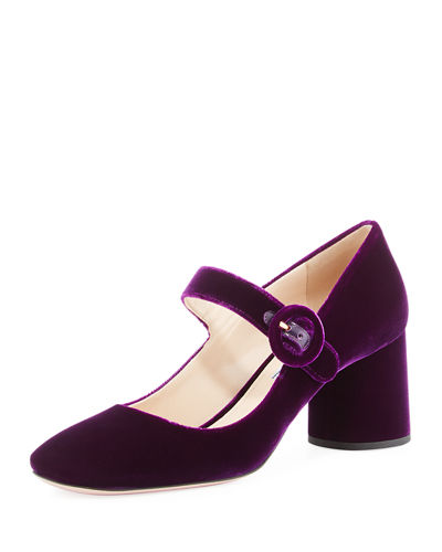 Prada Velvet Mary Jane Pump Purple VgZFKK0