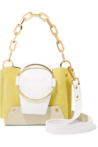 Yuzefi Delila Mini Color Block Textured Leather And Suede Shoulder Bag Yellow pChgs7hiJp