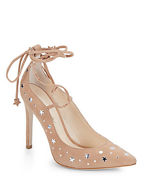 Isa Tapia Walska Star Studded Suede Lace Up Pumps Deep Sea 28RZ6NQ