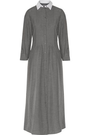 Maison Martin Margiela Cotton Poplin Paneled Pintucked Voile Maxi Dress Gray Z5f1S