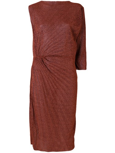 A.F.Vandevorst Pleated Ruched Detail Dress Polyamide Polyester Metallic RY1CI