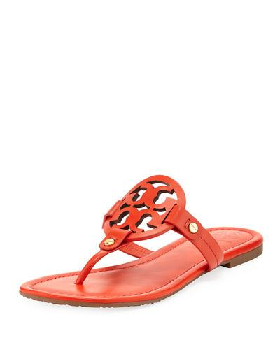 Tory Burch Miller Leather Logo Flat Slide Sandal Poppy Orange vBYZlVHD