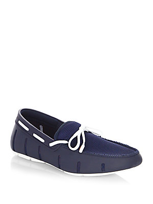 Swims Mesh Trimmed Lace Loafers Navy White HmqBn