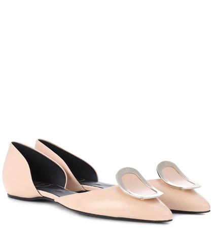 Roger Vivier Chips D'orsay Leather Ballerinas Beige zhZggF4x