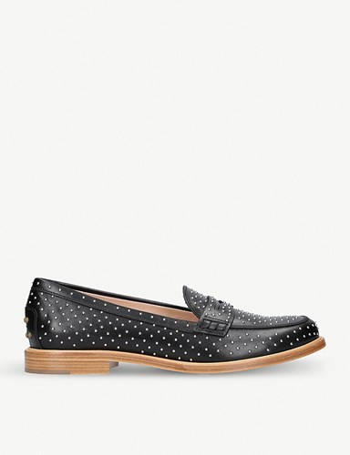 Tod's Borchie Studded Leather Moccasins Black A7GdgE